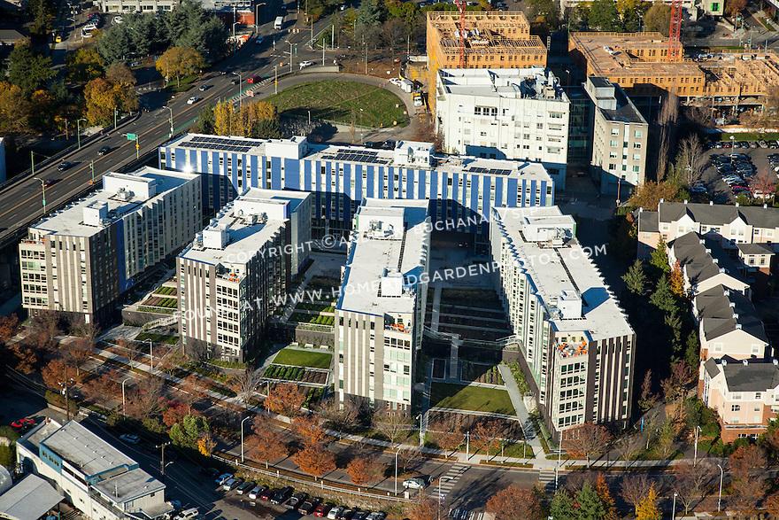 Aerial photo the Mercer Court Apartments at the University of Washington