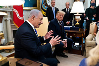 United States President Donald J. Trump meets with Prime Minister Benjamin Netanyhu of Israel ahead of the Abraham Accords Signing Ceremony on the South Lawn of the White House, Tuesday, Sept. 15,  2020.  <br /> Credit: Doug Mills / Pool via CNP /MediaPunch