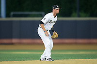 Wake Forest Demon Deacons shortstop Bruce Steel (17) on defense against the West Virginia Mountaineers in Game Four of the Winston-Salem Regional in the 2017 College World Series at David F. Couch Ballpark on June 3, 2017 in Winston-Salem, North Carolina.  The Demon Deacons walked-off the Mountaineers 4-3.  (Brian Westerholt/Four Seam Images)