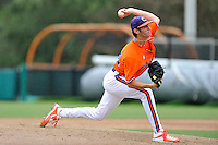 Sophomore pitcher Hunter Van Horn (30) of the Clemson Tigers in a fall practice intra-squad Orange-Purple scrimmage on Saturday, September 26, 2015, at Doug Kingsmore Stadium in Clemson, South Carolina. (Tom Priddy/Four Seam Images)