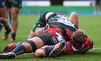 30th August 2020; Kingsholm Stadium, Gloucester, Gloucestershire, England; English Premiership Rugby, Gloucester versus Leicester Tigers; Cameron Henderson goes over and scores a try