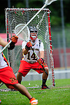 BERLIN, GERMANY - JUNE 22: Round Robin match of Team Germany (white) vs Swiss National Team (red) during the Berlin Open Lacrosse Tournament 2013 at Stadion Lichterfelde on June 22, 2013 in Berlin, Germany. Final score 9-3. (Photo by Dirk Markgraf/www.265-images.com)