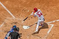 30 April 2017: Washington Nationals outfielder Bryce Harper connects against the New York Mets at Nationals Park in Washington, DC. The Nationals defeated the Mets 23-5, with the Nationals setting several individual and team records, in the third game of their weekend series. Mandatory Credit: Ed Wolfstein Photo *** RAW (NEF) Image File Available ***
