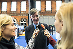 © Joel Goodman - 07973 332324 . 02/10/2017. Manchester, UK. JACOB REES-MOGG is interviewed by European media at the conference . The second day of the Conservative Party Conference at the Manchester Central Convention Centre . Photo credit : Joel Goodman
