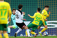 20th February 2021; Carrow Road, Norwich, Norfolk, England, English Football League Championship Football, Norwich versus Rotherham United; Max Aaron of Norwich City clears the ball off the line