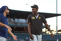 Peoria Javelinas Oneil Cruz (10), of the Pittsburgh Pirates organization, before an Arizona Fall League game against the Mesa Solar Sox on September 21, 2019 at Sloan Park in Mesa, Arizona. Mesa defeated Peoria 4-1. (Zachary Lucy/Four Seam Images)