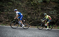 Mauri Vansevenant (BEL/Deceuninck - Quick Step) & Mathijs Paasschens (NED/Bingoal - Wallonie Bruxelles) in the breakaway group <br /> <br /> 84th La Flèche Wallonne 2020 (1.UWT)<br /> 1 day race from Herve to Mur de Huy (202km/BEL)<br /> <br /> ©kramon