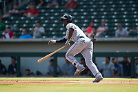 Peoria Javelinas shortstop Lucius Fox (5), of the Tampa Bay Rays organization, starts down the first base line during an Arizona Fall League game against the Mesa Solar Sox at Sloan Park on October 11, 2018 in Mesa, Arizona. Mesa defeated Peoria 10-9. (Zachary Lucy/Four Seam Images)