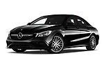 Stock pictures of low aggressive front three quarter view of 2019 Mercedes Benz CLA-Coupe 45-AMG 4 Door Sedan Low Aggressive