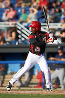 Batavia Muckdogs shortstop Samuel Castro (25) at bat during a game against the State College Spikes on June 24, 2016 at Dwyer Stadium in Batavia, New York.  State College defeated Batavia 10-3.  (Mike Janes/Four Seam Images)