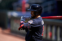 Atlanta Braves Travis d'Arnaud (16) on deck during a Major League Spring Training game against the Boston Red Sox on March 7, 2021 at CoolToday Park in North Port, Florida.  (Mike Janes/Four Seam Images)
