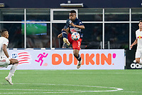 FOXBOROUGH, MA - MAY 22: Wilfrid Katoum #5 of New England Revolution during a game between New York Red Bulls and New England Revolution at Gillette Stadium on May 22, 2021 in Foxborough, Massachusetts.