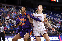 GREENSBORO, NC - MARCH 6: Tylar Bennett #55 of Clemson University and Georgia Pineau #5 of Boston College challenge for a rebound during a game between Clemson and Boston College at Greensboro Coliseum on March 6, 2020 in Greensboro, North Carolina.