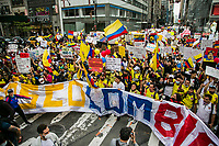 NEW YORK, NEW YORK - MAY 6: People take part in a protest and march from United Nations headquarters to Times Square on May 6, 2021. In New York. Violent clashes between protesters and riot police in Colombia continue after President Iván Duque ordered Congress to withdraw his tax reform law on Sunday. The international community reported that at least 19 people died, there are more than 846 injured and there are also missing people. (Photo by Pablo Monsalve/VIEWpress )