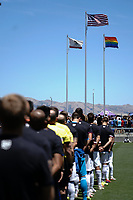 SAN JOSE, CA - JUNE 8: National anthem during a game between FC Dallas and San Jose Earthquakes at Avaya Stadium on June 8, 2019 in San Jose, California.