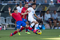 CARSON, CA - FEBRUARY 1: Brandon Servania #16 of the United States battles for a ball during a game between Costa Rica and USMNT at Dignity Health Sports Park on February 1, 2020 in Carson, California.