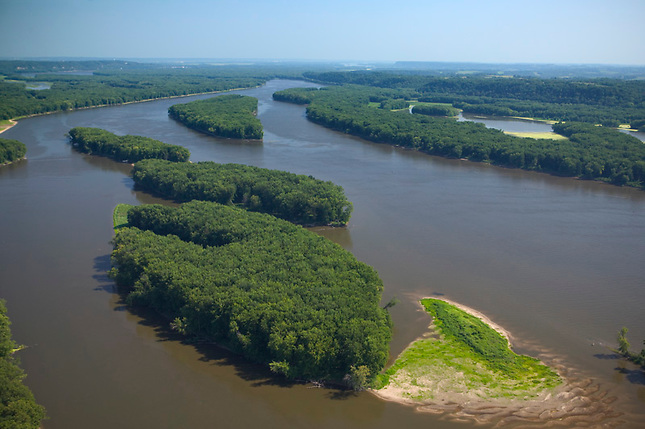 Islands on Mississippi River at Belleview Iowa.