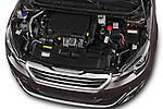 Car Stock 2015 Peugeot 308 Feline 5 Door Hatchback Engine high angle detail view