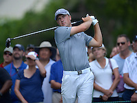 Bethesda, MD - June 27, 2014: Jordan Spieth tees off on hole 3 in the second round of play at the Quicken Loans National at the Congressional Country Club in Bethesda, MD, June 27, 2014. He finished play at +2. (Photo by Don Baxter/Media Images International)
