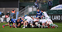 21st November 2020; Recreation Ground, Bath, Somerset, England; English Premiership Rugby, Bath versus Newcastle Falcons; Ben Spencer of Bath feeds the ball into the scrum