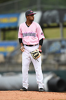 Hickory Crawdads relief pitcher Abdiel Mendoza (21) prepares to throw to a batter during the game with the Charleston Riverdogs at L.P. Frans Stadium on May 12, 2019 in Hickory, North Carolina.  The Riverdogs defeated the Crawdads 13-5. (Tracy Proffitt/Four Seam Images)