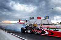 Jul 11, 2020; Clermont, Indiana, USA; NHRA top fuel driver Billy Torrence during qualifying for the E3 Spark Plugs Nationals at Lucas Oil Raceway. This is the first race back for NHRA since the start of the COVID-19 global pandemic. Mandatory Credit: Mark J. Rebilas-USA TODAY Sports