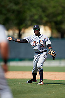 Detroit Tigers Dawel Lugo (71) throws to first base during an Instructional League game against the Atlanta Braves on October 10, 2017 at the ESPN Wide World of Sports Complex in Orlando, Florida.  (Mike Janes/Four Seam Images)