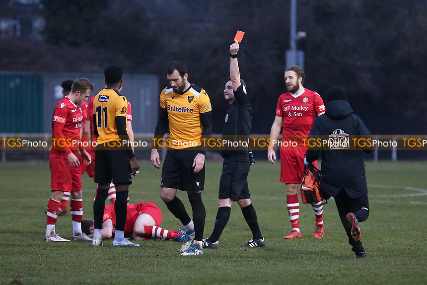 Joe Ellul of Maidstone is shown a red card and sent off during Hornchurch vs Maidstone United, Buildbase FA Trophy Football at Hornchurch Stadium on 6th February 2021