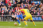 Atletico de Madrid Antoine Griezmann and UD Las Palmas Angel Montero during La Liga match between Atletico de Madrid and UD Las Palmas at Vicente Calderon Stadium in Madrid, Spain. December 17, 2016. (ALTERPHOTOS/BorjaB.Hojas)