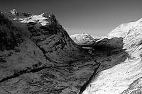 Looking along the Pass of Glencoe to Loch Achtriochtan from Am Bodach Glencoe Scotland