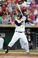 Kane County Cougars catcher Victor Caratini (2) at bat during a game against the Quad Cities River Bandits on August 14, 2014 at Third Bank Ballpark in Geneva, Illinois.  Kane County defeated Quad Cities 4-1.  (Mike Janes/Four Seam Images)