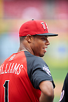 Team USA Nick Williams (1) during practice before the MLB All-Star Futures Game on July 12, 2015 at Great American Ball Park in Cincinnati, Ohio.  (Mike Janes/Four Seam Images)