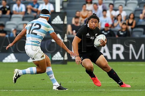 14th November 2020, Sydney, Australia;  Caleb Clarke in possession. Tri Nations rugby union test match,  New Zealand All Blacks versus Argentina Pumas. Bankwest Stadium, Sydney, Australia.