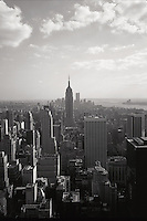 Aerial skyline of New York City on a hazy day. Manhattan, New York..