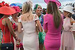 Royal Ascot horse racing Berkshire. 2012 Group of fashionable women a day out together at the races.