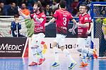 Rios R. Zaragoza Fernando Modrego and Anas El Ayyane celebrating a goal during Semi-Finals Futsal Spanish Cup 2018 at Wizink Center in Madrid , Spain. March 17, 2018. (ALTERPHOTOS/Borja B.Hojas)