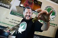 A guy wearing a mask of Matteo Salvini sows dried marijuana<br /> Rome February 21st 2020. Hemp Fair Canapa Mundi Rome 2020.<br /> Photo Samantha Zucchi Insidefoto