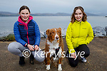 Taking Jessie the dog for a walk on Fenit beach on Friday, l to r: Lucy Murphy and Lily Mari Williamson.