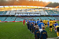 SYDNEY, AUSTRALIA - JULY 31, 2010: Players entering the stadium at the match between AEK Athens FC and Glasgow Rangers during the 2010 Sydney Festival of Football held at the Sydney Football Stadium on July 31, 2010 in Sydney, Australia. (Photo by Sydney Low / www.syd-low.com)