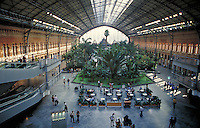 Interior of the Atocha Railroad Station in Madrid, Spain. architecture, interior design,. Madrid Spain.