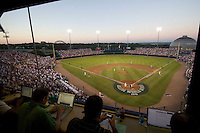 The view from the press box at the final College World Series game at Johnny Rosenblatt Stadium in Omaha, Nebraska.  (Photo by Andrew Woolley / Four Seam Images)