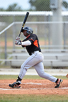 Miami Marlins outfielder Miles Williams (22) hits a home run during a minor league spring training game against the New York Mets on March 28, 2014 at the Roger Dean Stadium Complex in Jupiter, Florida.  (Mike Janes/Four Seam Images)