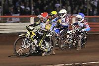 Heat 19: Scott Nicholls (red), Kauko Nieminen (white), Rob Mear (blue) and Chris Harris (yellow) - Lee Richardson Memorial Speedway Meeting at Arena Essex Raceway, Purfleet - 28/09/12 - MANDATORY CREDIT: Gavin Ellis/TGSPHOTO - Self billing applies where appropriate - 0845 094 6026 - contact@tgsphoto.co.uk - NO UNPAID USE.