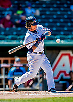 18 July 2018: New Hampshire Fisher Cats outfielder Harold Ramirez in action against the Trenton Thunder at Northeast Delta Dental Stadium in Manchester, NH. The Fisher Cats defeated the Thunder 3-2 in a 7-inning, second game of the day. Mandatory Credit: Ed Wolfstein Photo *** RAW (NEF) Image File Available ***