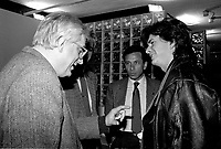 MONTREAL, CANADA - File Photo -  French Film maker Bertrand Tavernier (L) and Quebec Film maker Jean-Claude Lauzon (R), on February 3, 1988.<br /> <br /> Photo : agence quebec presse - Pierre Roussel