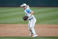 North Carolina Tar Heels shortstop Danny Serretti (1) makes a throw to first base against the North Carolina State Wolfpack at Boshamer Stadium on March 27, 2021 in Chapel Hill, North Carolina. (Brian Westerholt/Four Seam Images)