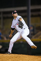 Hickory Crawdads relief pitcher Blake Bass (28) in action against the Rome Braves at L.P. Frans Stadium on May 12, 2016 in Hickory, North Carolina.  The Braves defeated the Crawdads 3-0.  (Brian Westerholt/Four Seam Images)