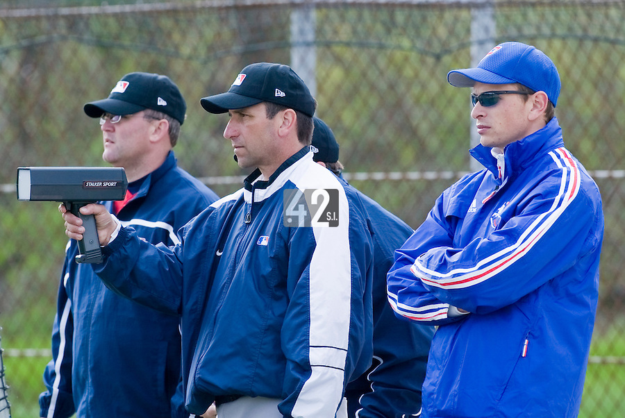 18 April 2006: MLB representatives are seen next to Fabien Proust during the third of seven 2006 MLB European Academy Try-out Sessions throughout Europe, at Stade Pershing, INSEP, near Paris, France. Try-out sessions are run by members of the Major League Baseball Scouting Bureau with assistance from MLBI staff.