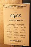 Atlantic Theater's World Premiere of Gabe McKinley's CQ/CX 2/15/12