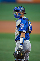 Austin Barnes (10) of the Oklahoma City Dodgers on defense against the Salt Lake Bees at Smith's Ballpark on July 31, 2019 in Salt Lake City, Utah. The Dodgers defeated the Bees 5-3. (Stephen Smith/Four Seam Images)